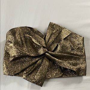 Miss Selfridge Metallic Bow Crop Tube Top